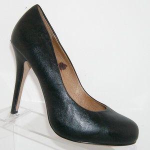 ALDO black leather round toe stacked heel 9 EU 40